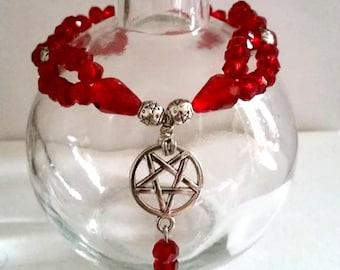 Ruby Red Crystal Pentagram Charm Bracelet