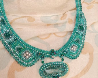 Amizonite and Pearl Embroidered Collar Necklace