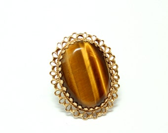 Estate 14k Yellow Gold and Tigers Eye Oval Filigree Statement Ring