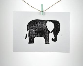 "Modern Elephant - Hand Pulled Linoleum Block Print 5""x7"""
