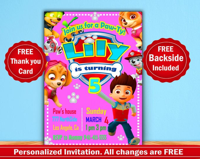 Paw patrol pink invitation girl invitation paw patrol girl Printable Invitation Digital file Disney Invitation Paw Patrol invite party