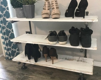 Floating Industrial Pipe Shoe Rack Shoe Organizer Shoe Rack Rustic Wood Shoe Rack Shoe Holder Shoe Shelf Shoe Racks Floating Shelf Organizer