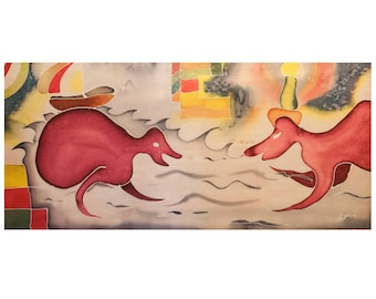 DRAGONS IN LOVE-picture painted with Batik-90 x 45 cm