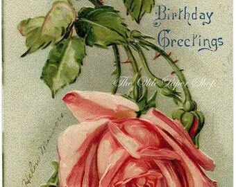 Vintage Embossed Birthday Greetings Postcard Pink Rose 1908 Cancel