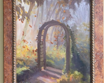 Arbor, original oil painting, 13x15, frame included
