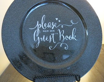 Guest Book Sign // Please sign our guestbook // Wedding Sign // Classic Wedding Sign // Black and Silver Wedding