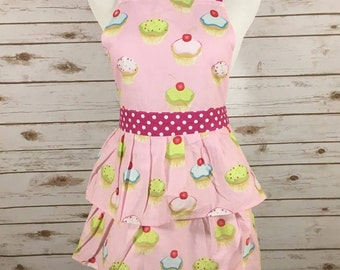 Personalized ruffled retro cupcake apron