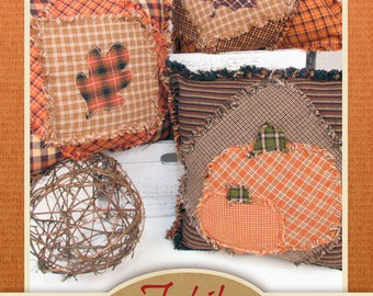 Autumn Pumpkin and Leaf Ragged Pillow Pattern - DIGITAL DOWNLOAD - from Jubilee Fabric