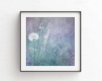 Dandelion wall art Flower print Botanical art 10x10 Purple wall decor Dandelions print Girls room decor Baby room decor Nursery wall decor