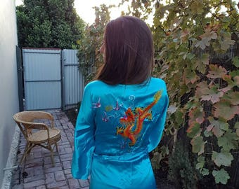 Vintage chinese dragon full length satin robe turquoise