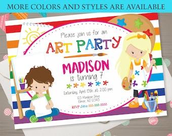 Art Party Invitation Art Party Birthday Invitation Rainbow Art Party Kids Art Party Art Birthday Party Art Party Invite Kids Paint Party