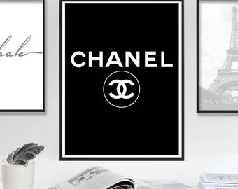Chanel, Coco Chanel Sign, Chanel Art, Black Chanel Print, Large Chanel Fashion Wall Art, chanel logo, Chanel print, Fashion Instant Download