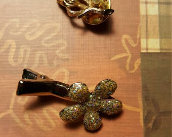 Glittery little flower clip..with pearl and gold tone stick pin.