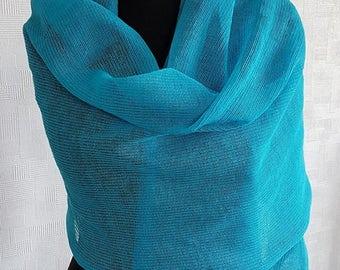 Bright blue linen scarf, blue scarf, linen scarves, blue scarves, summer scarf, summer scarves, linen scarf, knit scarf, knit scarves