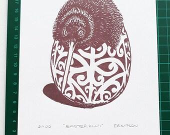 Easter Kiwi A5 Linocut Print