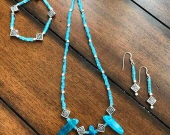 Dreamy Turquoise Sea Glass 3 piece Jewelry Set