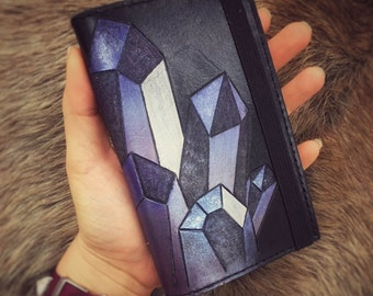 Purple Crystals Leather Journal