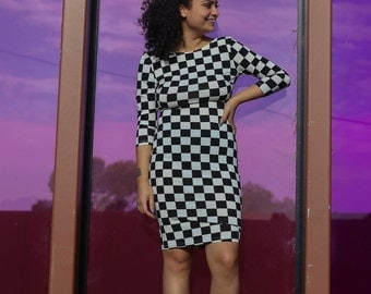 90s Bodycon Checkered Dress