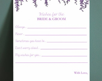 Wisteria Wedding Wishes Cards - Perfect for Weddings, Bridal Showers, and Rehearsal Dinners