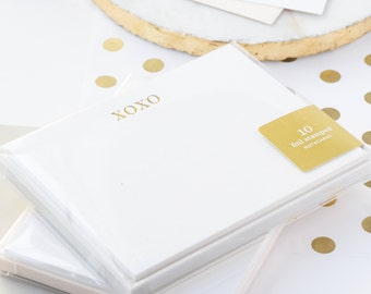 XOXO Note Cards, Gold Foil Notecards, Gold Foil Note Cards, Note Cards, Foil Stamped Stationery, Gold Stationery, XOXO Notecard, Set of 10