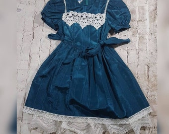 Vintage 80's Gunne Sax Teal Dress Girl's Size 6X with Puffy Sleeves