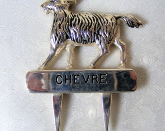 Cheese markers, Six Vintage French, silver plated, Cheese Markers ,Cows, Sheep, Goat, Great for Parties, Table decor,housewarming gifts