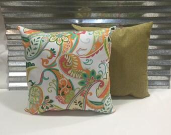 Pair of 20x20 Paisley Parade Tangerine Decorator Pillows