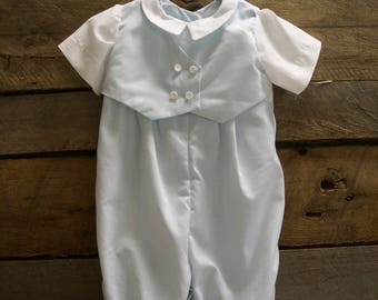 Baby Blue Christening/Baptism Bodysuit- Baptismal Outfit- Christening Outfit- Bautizo- boys jumpsuit, baby boy vest outfit