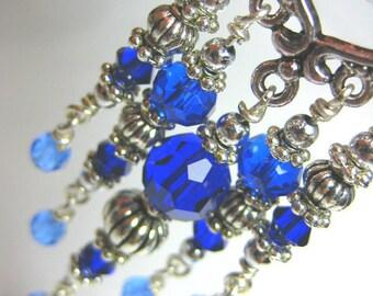 Ocean Blue Crystal Chandelier Earrings