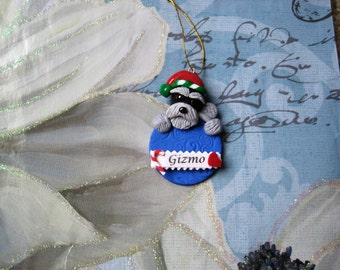 Schnauzer dog ornament, clay, handmade, whimsical, black and silver, dogs, pawsnclaws, OOAK, Christmas, gift