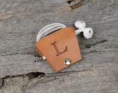 Leather Earbud Holder / Cord Cable Earbud Earphone Headphone Organizer Cord Keeper Wrap-Natural