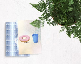 Donut and drink cute illustration - A5 handmade notebook made of recycled paper