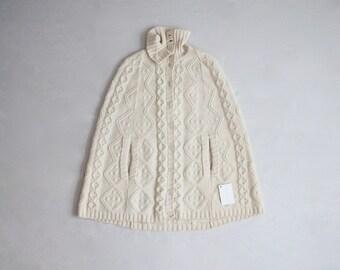 cream wool cape | 1960s cape | sweater cape