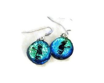 Mermaid Earrings Etsy, Mermaid Jewelry, Dichroic Fused Glass, Mermaid Scale, Mermaid Tail, Beach Earrings, Aqua Mermaid Earrings, Ocean Gift