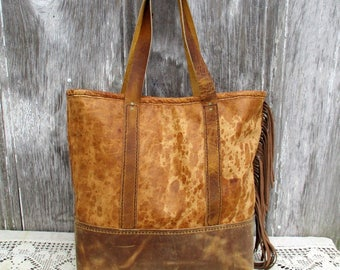 Spotted Leather - Distressed Tote Bag by Stacy Leigh