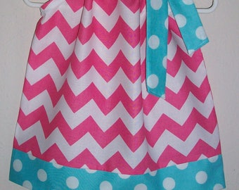 Pillowcase Dress Chevron Dress Hot Pink & Aqua Blue Girls Dresses Birthday Party Dress Summer Dresses Spring Dresses for Girls Riley Blake