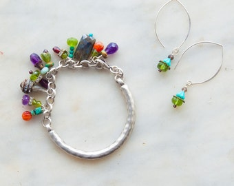 Jewelry Set Boho Gypsy Bracelet No. 1 & Earrings Assorted Semiprecious Stones Colorful Valentines Gift for Her Gift for Women Gift for Wife