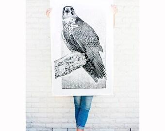 Hawk Linocut, Bird art, Giant Original Hand printed Linocut