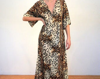 RESERVED! Ndidi 70s Leopard Maxi Dress, Mod Leopard Dress, 70s Loungewear, Hostess Maxi Leopard Print Dress, Lounge Dress, Jungle Cat, M