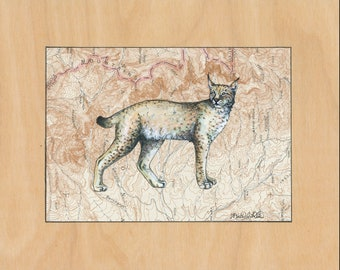 Lynx art on topography map, Archival print wildlife illustration, wild cat print wall art, lynx illustration, wildcat vintage style painting