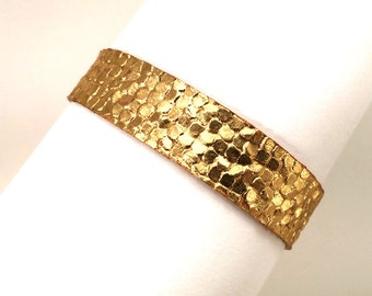 Gold leather bracelet, hammered metal look
