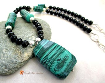 Black Green Gemstone Pendant Necklace, Sterling Silver, Malachite, Black Onyx Stone, Adjustable Chain Long Beaded Strand, Handmade Gift N282