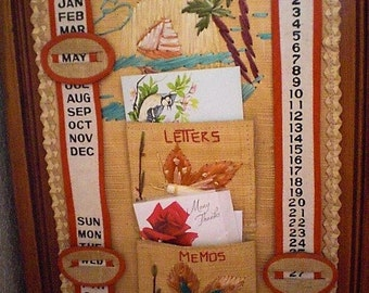 Vintage Florida Souvineer Rattan and Straw Calendar and Letter Holder