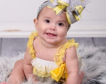 """Grey and Yellow Over the Top Hair Bow Clip or Headband,Yellow and Grey Baby Headband,Big 6"""" Hair Bow,Boutique Hair Bows,Stacked Hair Bows"""