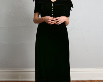 SALE- Black Velvet Dress . 1940s