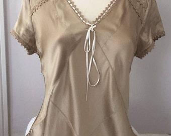Silk Blouse, Caramel Brown Silk Top Size 8, Short Sleeve Silk Blouse, Bronze Stretch Silk Top, Ribbon Lace Blouse, Boho Silk Blouse