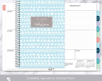 2017 planner calendar choose start month | add monthly tabs weekly student planner personalized agenda daytimer | blue tribal pattern
