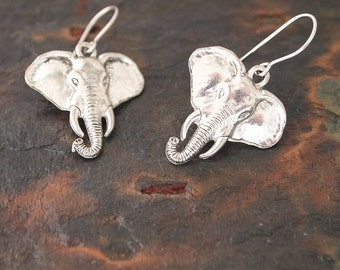 Elephant Earrings, Silver Elephant, Elephant Lover Gift, Elephant Gift