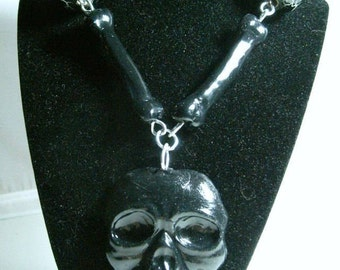 Black Skull Necklace, with bone and bead  chain
