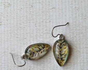 Glass Teardrop Dangle Earrings- Titanium Glass Leaf Earrings- Leaf Earrings- Paper Dangle Earrings- OOAK Earrings- Rustic Titanium Earrings